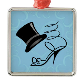 Sky Blue Hearts Top Hat and High Heels Metal Ornament