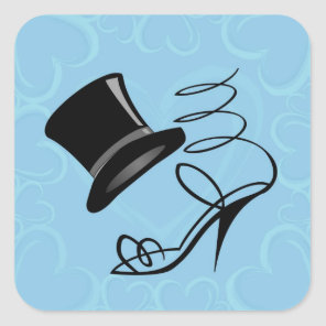 Sky Blue Hearts Top Hat and High Heels on stickers