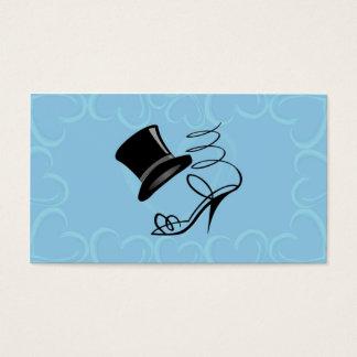 Sky Blue Hearts Top Hat and High Heels Place cards