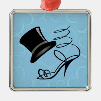 Sky Blue Hearts Top Hat and High Heels Square Metal Christmas Ornament