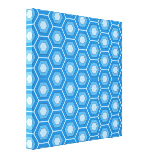 Sky Blue Hex Tiled Canvas