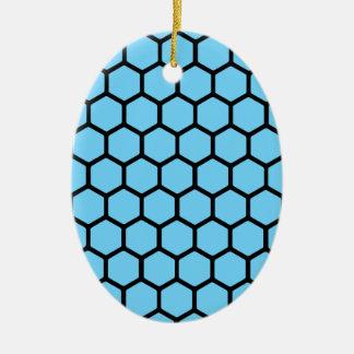 Sky Blue Hexagon 4 Ceramic Ornament