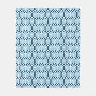 Sky Blue Honeycomb Pattern Fleece Blanket