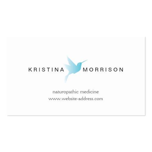 SKY BLUE HUMMINGBIRD LOGO, Naturopathy, Healthcare Business Card Template