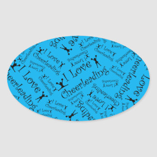 Sky blue I love cheerleading Oval Sticker