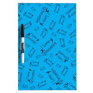 Sky blue I love gymnastics Dry Erase Board