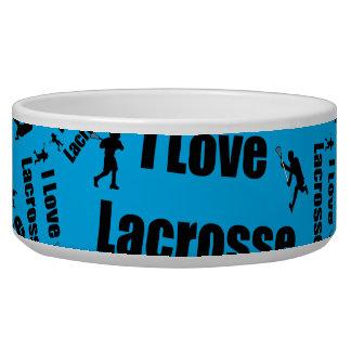 Sky blue I love lacrosse Pet Bowls