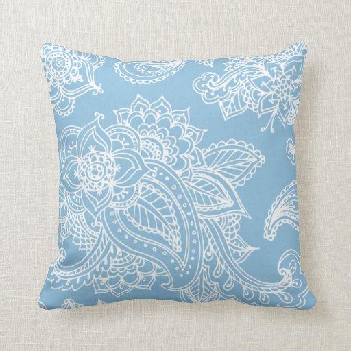 Sky Blue Throw Pillow : Sky Blue Illustrated Bohemian Paisley Henna Throw Pillows Zazzle