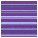 [ Thumbnail: Sky Blue & Indigo Colored Stripes Fabric ]