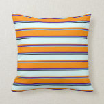 [ Thumbnail: Sky Blue, Indigo, Dark Orange, Light Cyan & Black Throw Pillow ]