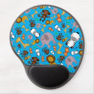 Sky blue jungle safari animals gel mouse pads