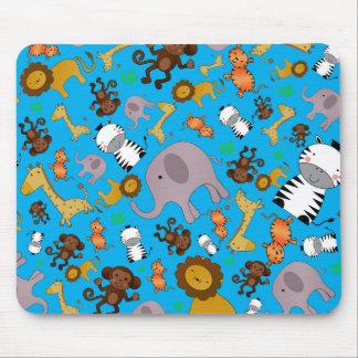 Sky blue jungle safari animals mouse pad