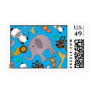Sky blue jungle safari animals postage stamps