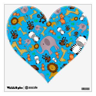 Sky blue jungle safari animals wall graphic
