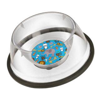Sky blue jungle safari animals pet bowl