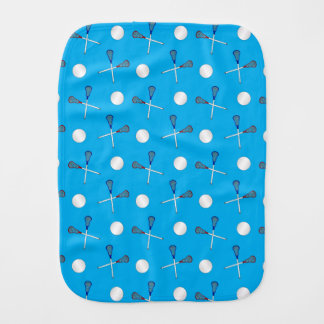 Sky blue lacrosse pattern baby burp cloth