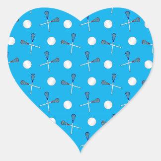 Sky blue lacrosse pattern heart stickers
