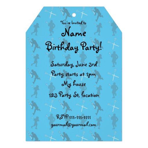 Sky blue lacrosse silhouettes custom invitations
