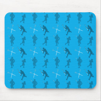 Sky blue lacrosse silhouettes mouse pads