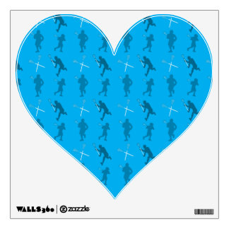 Sky blue lacrosse silhouettes wall decal