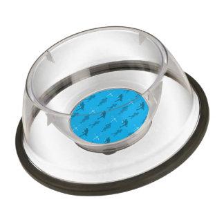 Sky blue lacrosse silhouettes pet bowl