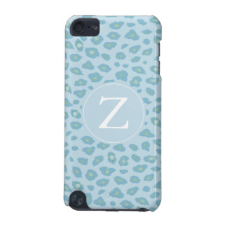 Sky Blue Leopard Print Monogram iPod Touch 5G Cover