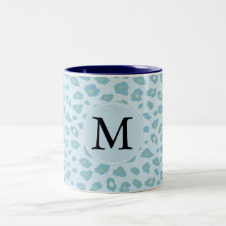 Sky Blue Leopard Print Monogram Two-Tone Coffee Mug