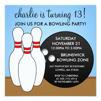 "Sky Blue Let's Have a Ball Bowling Party 5.25"" Square Invitation Card"