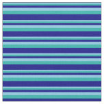 [ Thumbnail: Sky Blue, Light Sea Green & Blue Colored Pattern Fabric ]