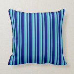 [ Thumbnail: Sky Blue, Light Sea Green & Blue Colored Pattern Throw Pillow ]