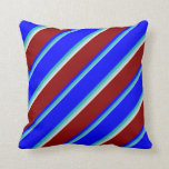 [ Thumbnail: Sky Blue, Light Sea Green, Blue, Dark Red & Beige Throw Pillow ]