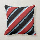 [ Thumbnail: Sky Blue, Light Slate Gray, Black, Red, Mint Cream Throw Pillow ]