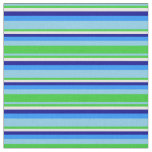 [ Thumbnail: Sky Blue, Lime Green, Mint Cream, Dark Blue & Blue Fabric ]