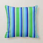 [ Thumbnail: Sky Blue, Lime Green, Mint Cream, Dark Blue & Blue Throw Pillow ]
