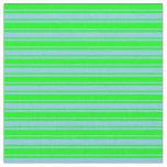 [ Thumbnail: Sky Blue & Lime Pattern of Stripes Fabric ]