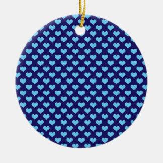 Sky Blue Little Heart Pattern Dark Blue Background Ceramic Ornament
