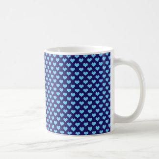 Sky Blue Little Heart Pattern Dark Blue Background Coffee Mug