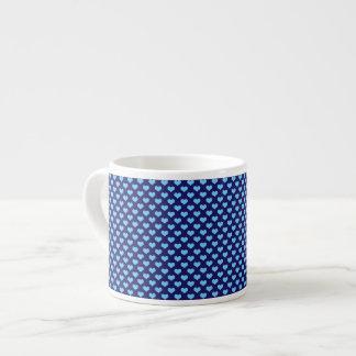 Sky Blue Little Heart Pattern Dark Blue Background Espresso Cup