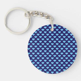 Sky Blue Little Heart Pattern Dark Blue Background Keychain
