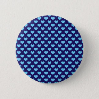 Sky Blue Little Heart Pattern Dark Blue Background Pinback Button