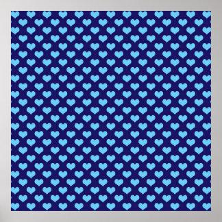 Sky Blue Little Heart Pattern Dark Blue Background Poster