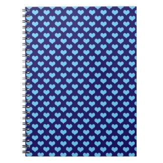 Sky Blue Little Heart Pattern Dark Blue Background Spiral Notebook