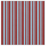 [ Thumbnail: Sky Blue & Maroon Colored Striped/Lined Pattern Fabric ]