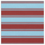 [ Thumbnail: Sky Blue & Maroon Colored Stripes/Lines Pattern Fabric ]