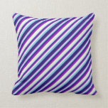 [ Thumbnail: Sky Blue, Midnight Blue, Dark Violet, and Beige Throw Pillow ]