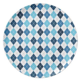 Sky Blue, Midnight Blue, Navy, White Argyle Melamine Plate