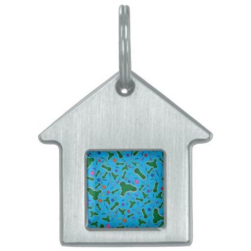 Sky blue mini golf pattern pet tags