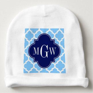 Sky Blue Moroccan #5 Navy Blue 3 Initial Monogram Baby Beanie