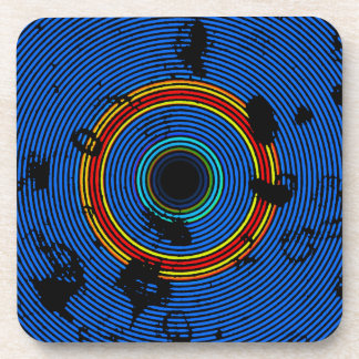 Sky Blue Multicolored Circle Pattern Coaster