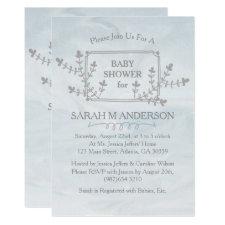 Sky Blue Nature Floral Frame Baby Shower Card